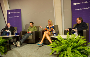 (l-r) Moderator Lev Grossman with panelists Malcolm Gladwell, Elin Hilderbrand, and R. L. Stine
